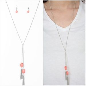 GLOW YOUR ROLL ORANGE NECKLACE/EARRING SET